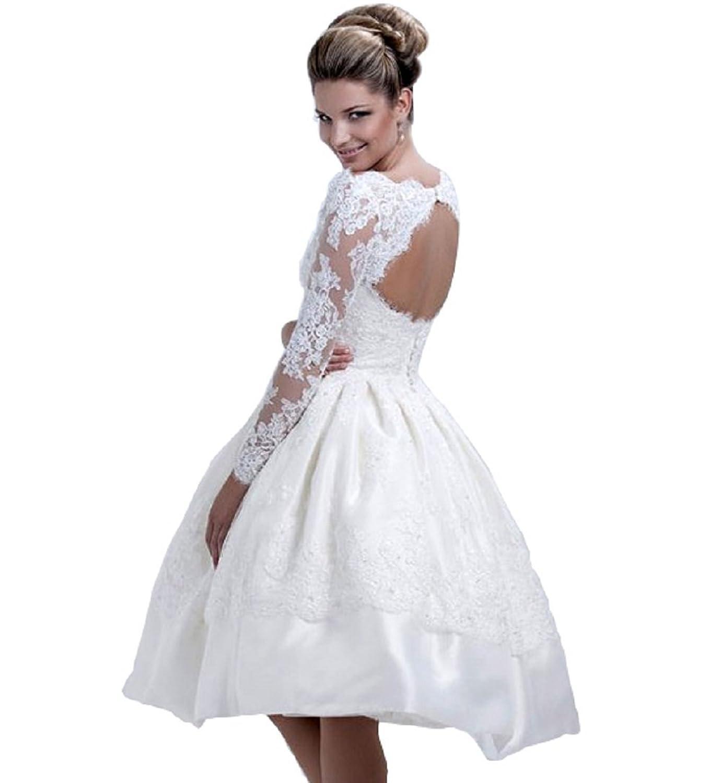 NUOJIA Offener Rücken Spitze Hochzeitskleider Kurz Brautkleider mit ...