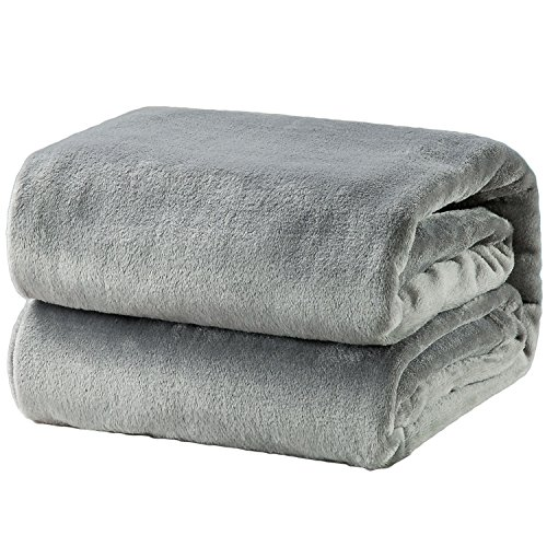 Bedsure Fleece Blanket Twin Size Grey Lightweight Super Soft Cozy Luxury Bed Blanket ()