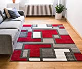 Uptown Squares Red & Grey Modern Geometric Comfy Casual Hand Carved Area...