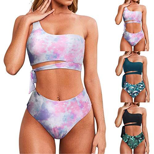 Mortilo Women Stripe Printing Smocked 2 Piece Bikini Sets Swimsuits (A, S)