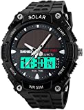 Fanmis Men's Solar Powered Casual Quartz Watch Digital & Analog Multifunctional Sports Watch Black