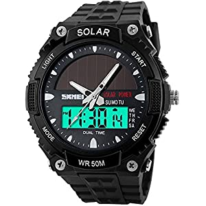 511INVpVSpL. SS300  - Fanmis Men's Solar Powered Casual Quartz Watch Digital & Analog Multifunctional Sports Watch Black