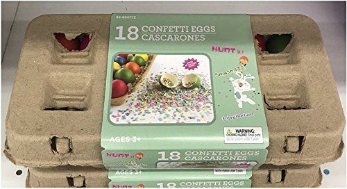 Pack of 18 Confetti Cascarones Easter Eggs Multicolored