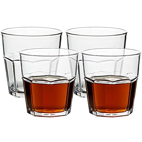 Unbreakable Rocks Glasses, Old Fashioned Drinking Glasses, 100% Clear Tritan Shatterproof Tumblers, Stackable Reusable Glassware Set for Juice Beer Water, BPA Free, Dishwasher-Safe, 9 oz Set of - Gibraltar 9 Ounce Rocks