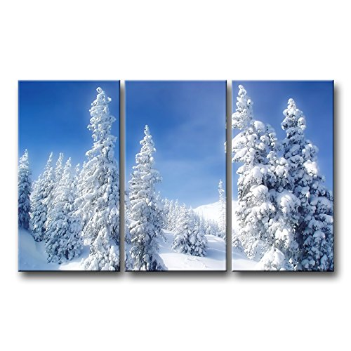So Crazy Art 3 Piece Blue Wall Art Painting White Winter Wonderland Pine Tree With Heavy Snow Prints On Canvas The Picture Landscape Pictures Oil For Home Modern Decoration Print Decor (Snow Paintings Winter)