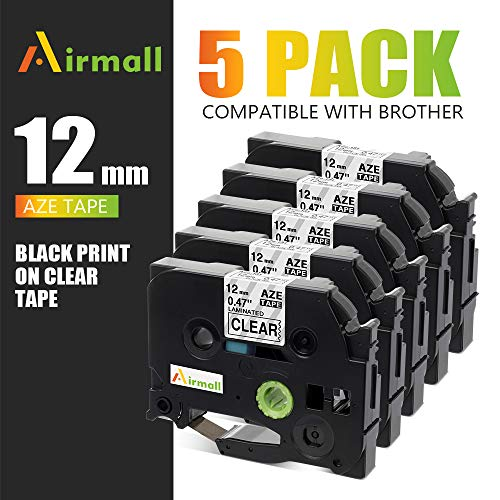 Airmall 5 Pack Compatible TZe-131 P-Touch Label Tape 12mm 0.47