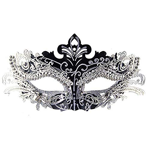 30s Masquerade Mask Shiny Metal Rhinestone Venetian Pretty Party Evening Prom Comfortable Lightweight Universal-Fitting Design Flexible Filigree Metal W/ Sparkling Rhinestones Soft and Bendable Black -