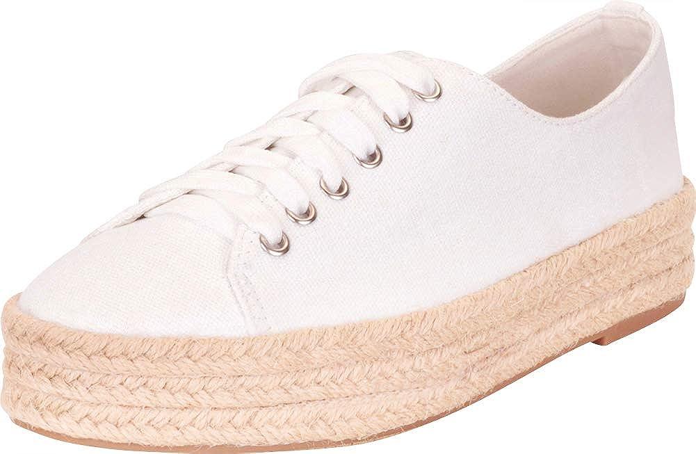 White Cambridge Select Women's Low Top Lace-Up Chunky Espadrille Flatform Fashion Sneaker