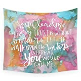 Society6 Spirit Lead Me - Inspirational Quote With Pink Flowers Wall Tapestry Small: 51