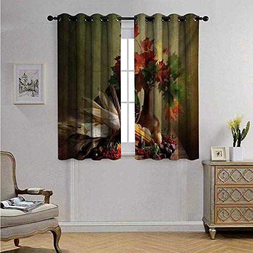 HarvestWaterproofWindowCurtainPhotograph from Death of The Nature Season Fall Vegetables and Leafs Wooden Table Blackout Drapes W55 x L39(140cm x 100cm) Multicolor