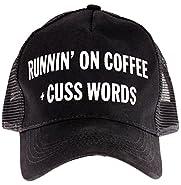 "Snark City's Funny Trucker Cap Hat Adjustable ""Runnin' On Coffee + Cuss Words"""