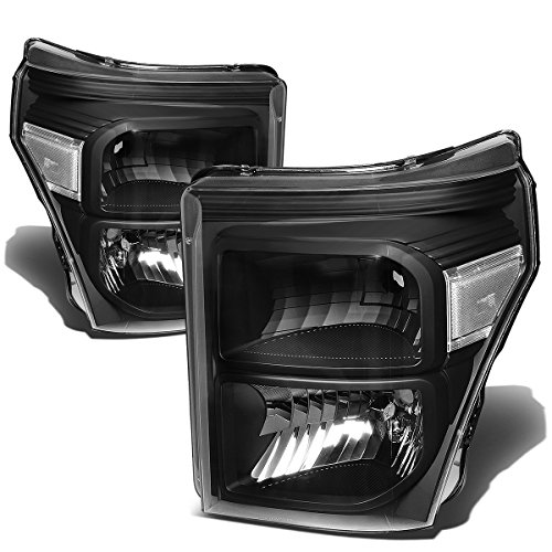 For Ford Super Duty Pair of Black Housing Clear Corner Headlight Replacement -