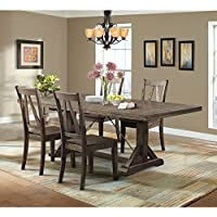 Picket House Furnishings Flynn Dining Set-Table & 4 Wooden Side Chairs Rustic/Walnut/Rubber Wood/5 Piece