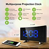 Alarm Clocks, (New Version)Pictek Projection Alarm Clock with FM Radio, 5-inch Dimmable Screen, Kids Clock Radio with Dual Alarms and Snooze Function, Digital Alarm Clock Projector with USB and Battery Backup for Bedroom