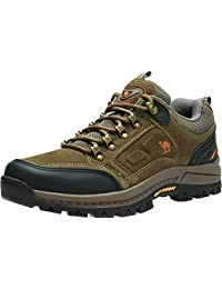 Men's Hiking Shoes Lightweight Leather Sneaker Walking Trekking Training Casual Work Shoes