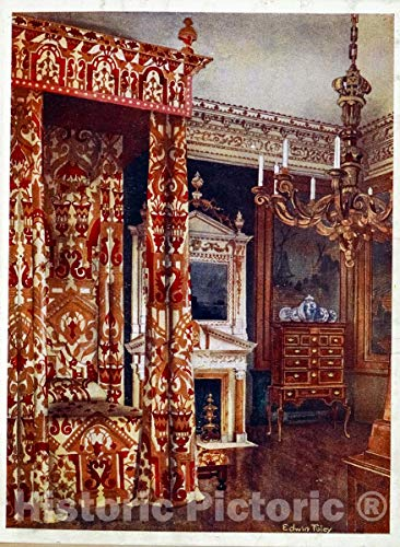 - Historic Pictoric 1910 Print | Queen Anne's bed. Hampton Court Palce. Chest of drawers upon stand | Vintage Wall Art | 24in x 32in