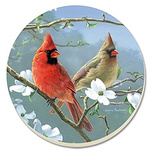 Counter Art CART88671 Beautiful Songbirds Cardinals Coasters, Set of 4