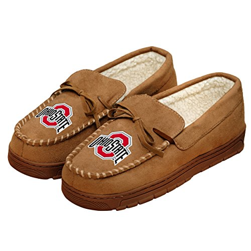 NCAA College Mens Team Logo Moccasin Slippers Shoe - Pick Team (Ohio State Buckeyes, XL)