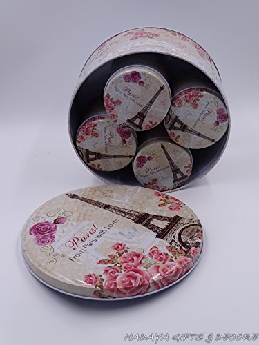 Attractive Paris Themed Cookie Storage Tins, Shabby Chic, Floral Design, with Eiffel Tower, Big Round Shaped Box with 4 Small Boxes (Tin Box Round)