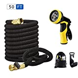 Anteko Expandable Garden Hose, 50ft Latex Water Hose with 9 Funtions Spray Nozzle & Flexible Expanding Stretch Hosepipe for Cleaning, Car Wahing, Pet Bath
