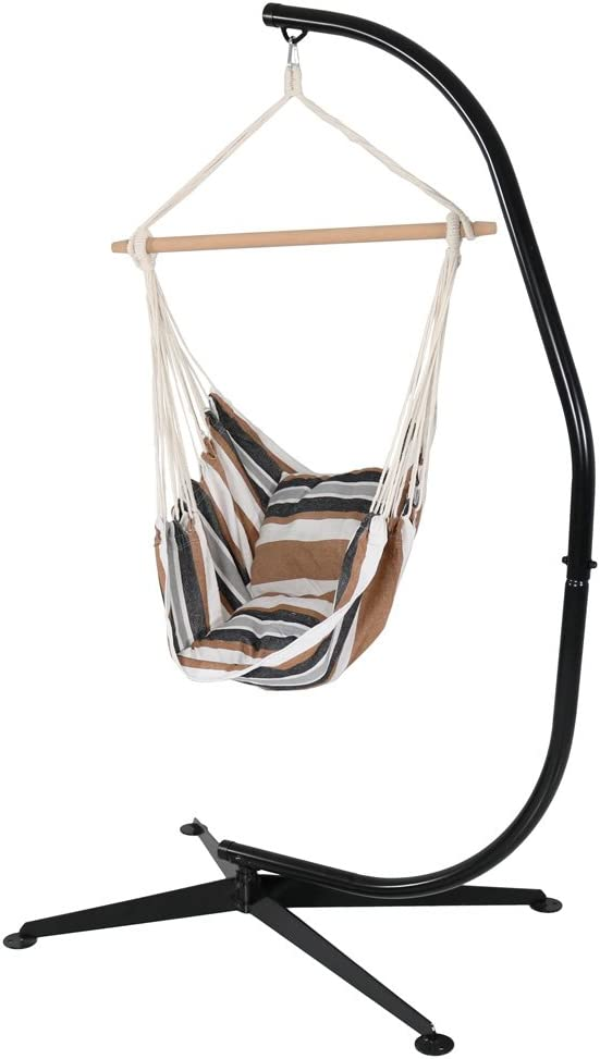 Sunnydaze Hanging Hammock Swing with Two Cushions and C-stand Combo - Calming Desert - 264 lbs Weight Capacity