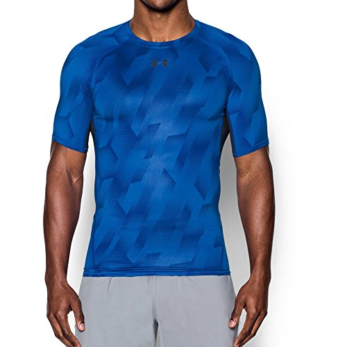 Under Armour Men's HeatGear Armour Printed Short Sleeve Compression Shirt, Blue Marker (789)/Black, Small by Under Armour (Image #1)