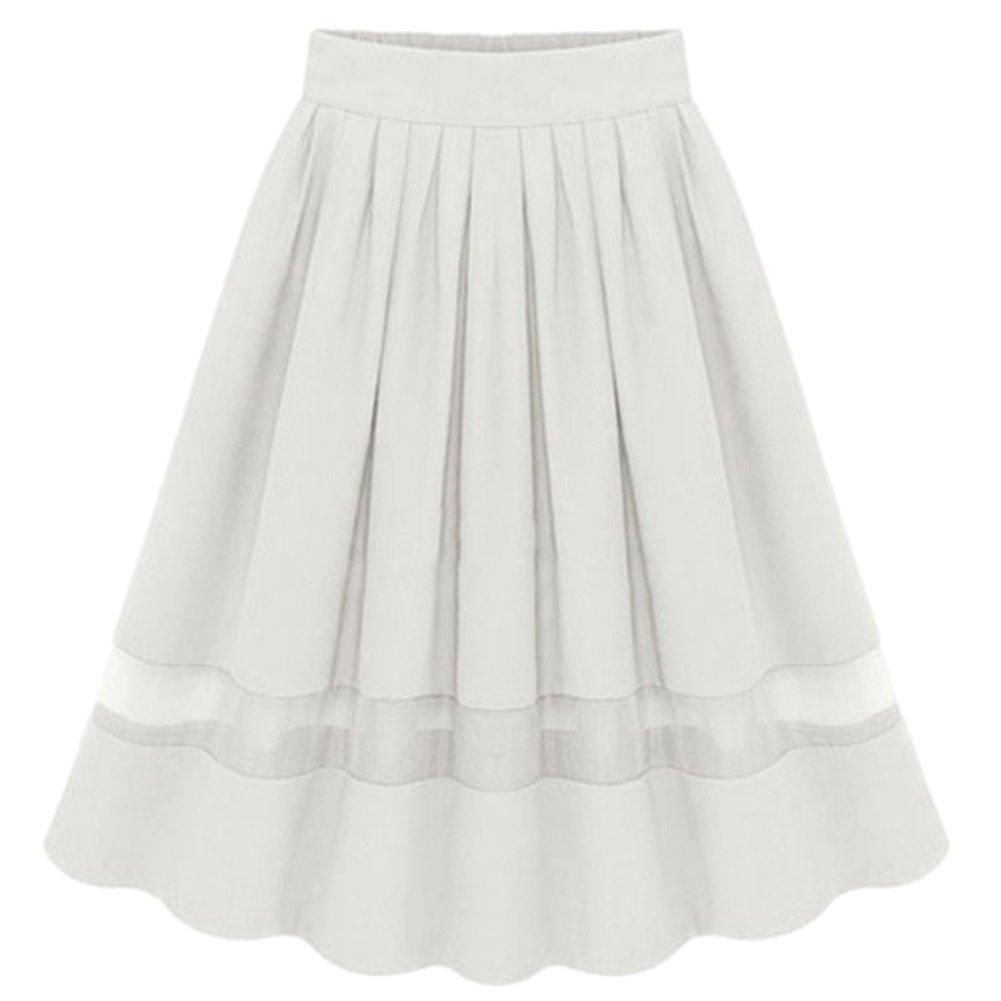Mujer Faldas De Tul Evasé Plisada Largas De Fiesta Con Vuelo Blanco FreeSize