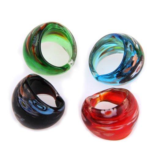 Ecloud ShopUS 4 Lampwork Millefiori Glass Color Rings 17-19mm (Green Murano Glass Ring)