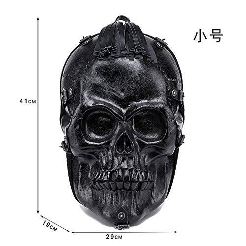 1651 CBDGD Personality Stereo Skull Bag 3D Embossed Evil Spirit pu Backpack Halloween Funny Tassel Computer Bag Backpacks (Color : Black -