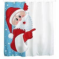 Goodbath Christmas Winter Santa Claus Shower Curtain, Fabric Bathroom Decor Waterproof Bath Curtains, 72 x 72 Inch, White Red and Blue (Santa Claus)