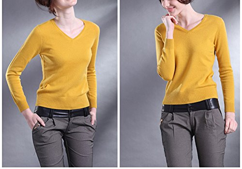Longues Sweater Maille Casual Manches Femme Blouse Hiver Pull Jaune Laine Winfon Pullover Chaud Col Top V 8CaqW7