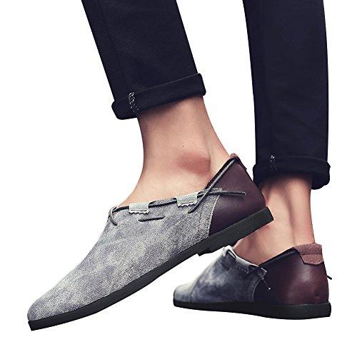 Gris Conducción Zapatos Jamron Barco Casual De Planos Baja Mocasines Gamuza Moda Vendimia Cuero Genuino Arriba Cómodo Hombres Del Owq40OT