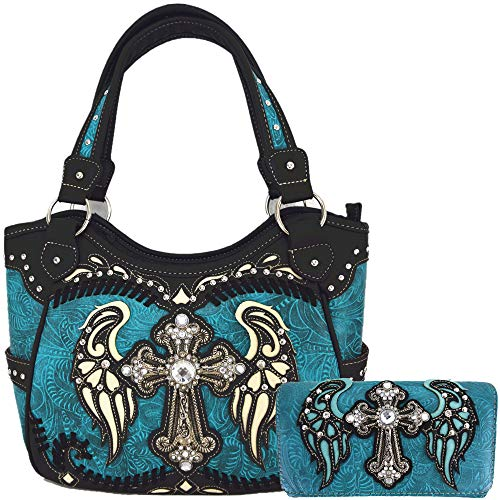 Western Style Cross Laser Cut Wings Purse Concealed Carry Handbags Women Country Shoulder Bag Wallet Set (#4 Turquoise Set)