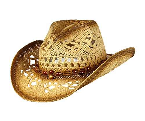 Saddleback Hats Shapeable Toyo Straw Cowboy Hat w/Beaded Trim Band, Western Cowgirl