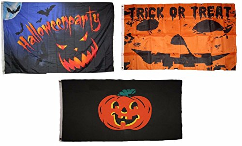 ALBATROS 3 ft x 5 ft Happy Halloween 3 Pack Flag Set #65 Combo Banner Grommets for Home and Parades, Official Party, All Weather Indoors Outdoors