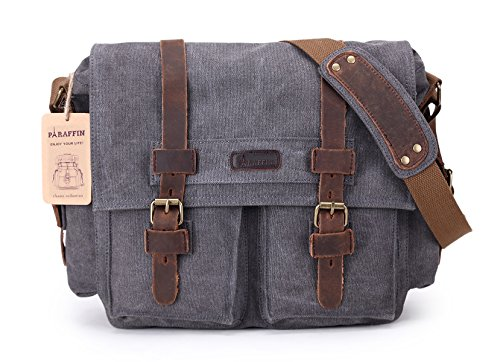 Paraffin Canvas Messenger Bag,Travel Work Tote School Laptop Siling Weekender (Grey) by Paraffin