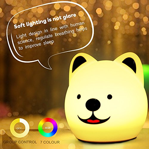 Puppy Night Light (Night Lights for Kids, squibomb Beside Lamp with 7 Touch Control Adjustable Color Brightness Safe Sil+ABS, USB Remote, Led Table Desk Atmosphere Decor Children Baby Nursery Light for Breastfeeding)