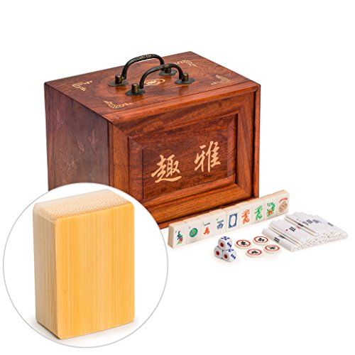 - Yellow Mountain Imports Traditional American Mahjong Set, Bone and Bamboo Tiles with 5-Drawer Rosewood Case - A Set of Betting Sticks, Pair of Dice, Four Winds Tiles