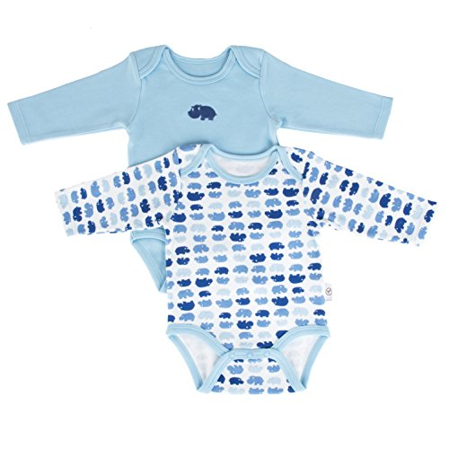 (Tadpoles Set of Two Bodysuits, Hippo/Blue, 0-6 Months)