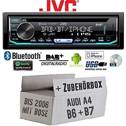 JUST SOUND best choice for caraudio EINBAUSET f/ür Audi A4 B6 B7 Android | CD Autoradio Radio JVC KD-R491 MP3 Einbauzubeh/ör USB