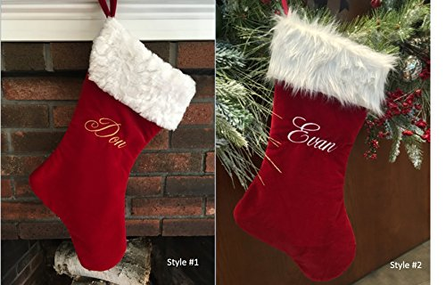 Personalized Velvet Christmas Stockings - Premier Velvet, fully-lined satin material Personalized Velvet Stocking