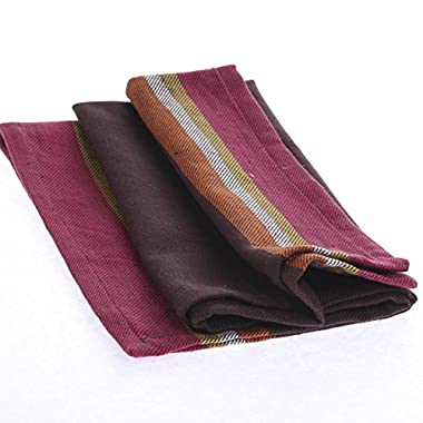 Collection of 12 Square Brown with Bright Stripe Border Cafe Cloth Napkins for Dinner Parties, Decorating and Everyday Use