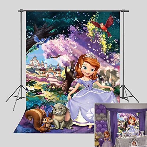 Princess Sofia Photography Backdrop Happy 1st Birthday Party Decorations for Baby Girl Vinyl Fairy Tale Forest Baby Shower Photo Background 3x5ft Photo Booth Studio Props Cake Table (Best Place For 1st Birthday Party)