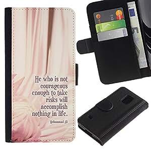 KingStore / Leather Etui en cuir / Samsung Galaxy S5 V SM-G900 / Ali Boxeo cotización Mensaje Floral Pink