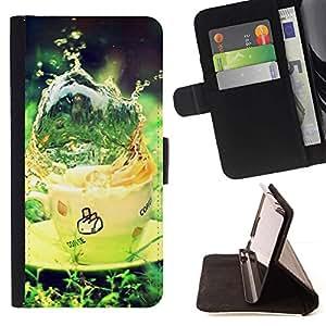 For Samsung Galaxy J3(2016) J320F J320P J320M J320Y Case , Naturaleza Hermosa Forrest Verde 21- la tarjeta de Crédito Slots PU Funda de cuero Monedero caso cubierta de piel