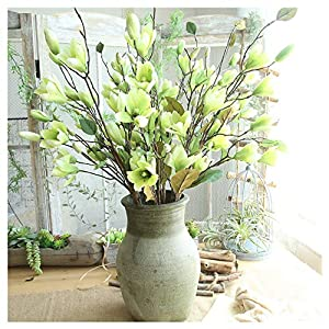Fake Flower, 1-Piece Vintage Artificial Magnolia Simulated Floral Real Touch Plant for Indoor Outdoor Home Wedding Party Living Room Indoor Outdoor Decor (Green) 66