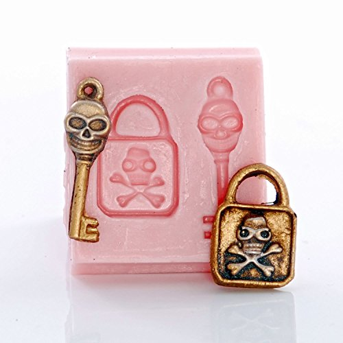 Miniature Skull and Cross Bones Lock and Key Silicone Mold Food Safe Mold Craft Jewelry Mold. Perfect size to make jewelry. -