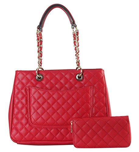Diophy PU Leather Quilted Pattern Multi Spaced Tote with Wallet 2 Pieces Set Accented with Chain Double Handles Womens Purse Handbag (Discount Designer Bags)
