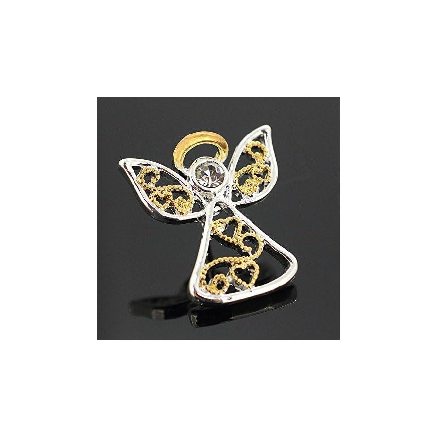 Metallic Christmas Angel Lapel Brooch Pin