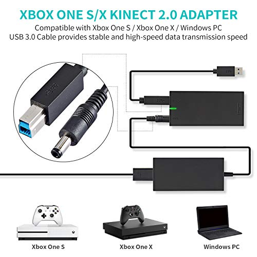 Xbox Kinect Adapter for Xbox One S Xbox One X Kinect 2.0 Sensor and Windows PC Interactive APP Program Development Adapter Power Supply Connect to PC Via USB 3.0